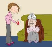 Bardzo stara siwow?osa starsza kobieta, babcia, siedz?cy na kanapie, ?pi M?ody rozochocony kobiety piel?gniarki opiekun przynosi  ilustracja wektor