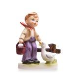 Bardzo stara statua, mała ceramiczna chłopiec Fotografia Stock