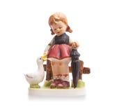 Bardzo stara statua, mała ceramiczna dziewczyna Zdjęcia Stock