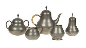 Bardzo starej blaszanej herbaty ustalony pełny narysy zdjęcia stock