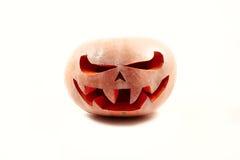 Bardzo straszna Halloweenowa bania na białym odosobnionym tle z Zdjęcia Stock