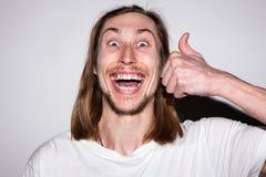 Bardzo szczęśliwa samiec Stomatology reklama zdjęcie stock