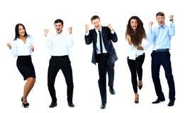 Bardzo szczęśliwi ludzie biznesu skakać obrazy royalty free