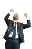 Bardzo szczęśliwy energiczny biznesmen obraz stock
