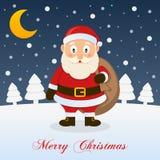 Bardzo Wesoło Bożenarodzeniowa noc - Święty Mikołaj Zdjęcie Stock