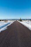 Bare asphalt road through a wintry plain landscape Royalty Free Stock Photography