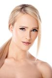 Bare Blond Woman Looking at the Camera Royalty Free Stock Photo
