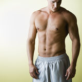 Bare Chested Man. Muscular Young Man with Bare Chest Royalty Free Stock Photography