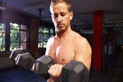 Bare Chested Man In Gym Lifting Hand Weights Royalty Free Stock Images