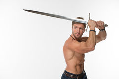 Bare-chested man with katana sword Stock Image