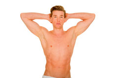 Bare-chested man showing muscles Stock Photos