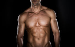 Bare chested muscle man Stock Photography