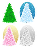 Bare christmas trees. Live green colors isolated on white, blue, pink on gold, silver Royalty Free Stock Photos
