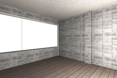 Bare concrete wall and wood floor Royalty Free Stock Photos