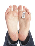 Bare feet of a dead man in the morgue Royalty Free Stock Image