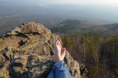Bare feet of female hiker Royalty Free Stock Images