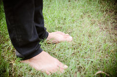 bare feet on green grass Royalty Free Stock Photo