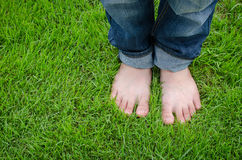 Bare feet on green grass Stock Images