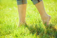 Bare feet on green grass Stock Image