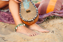 Bare feet on sand Royalty Free Stock Photo