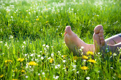 Bare feet on spring grass. And flowers Royalty Free Stock Photography
