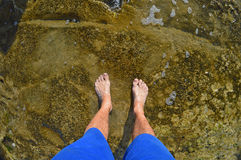Bare Feet In Shallow Water Royalty Free Stock Image