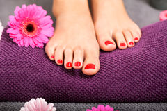 Bare feet of a woman surrounded by flowers Royalty Free Stock Images