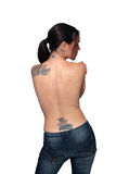 Bare Female Back with Tattoos Royalty Free Stock Photography