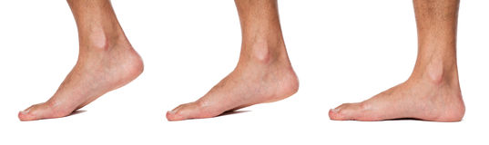 Bare foot walking sequence up close. Isolated Royalty Free Stock Photos
