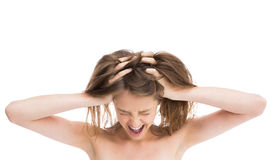 Bare girl with hands on head screaming Royalty Free Stock Images
