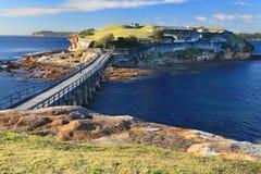 Bare Island, Botany Bay Sydney. Boardwalk bridge to Bare Island, near Sydney, Australia.  Abundant marine life and underwater reefs, caves, canyons make it the Royalty Free Stock Photography