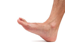 Bare male foot walking Royalty Free Stock Photos