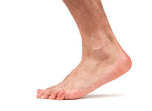 Bare male foot walking. Isolated Stock Image