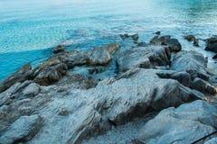 Bare rocks on a Mallorca seaside. Balearic Islands Spain, Mediterranean Sea Royalty Free Stock Photo