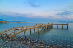 Bare sea pier on the beach of datca, Turkey. Royalty Free Stock Photos