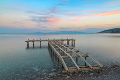 Bare sea pier in datca, Turkey. Royalty Free Stock Image