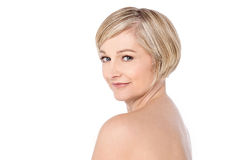 Bare shoulder woman over white Stock Photos