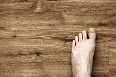 Left Foot on Parquet Royalty Free Stock Photos
