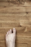 Left Foot on Parquet. Bare and somewhat hairy left foot of an adult caucasian man, on brown parquet floor. Viewed from directly above Stock Photography