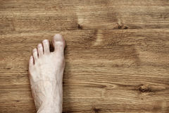 Left Foot on Parquet Royalty Free Stock Photography