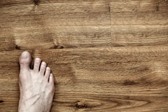 Right Foot on Parquet Stock Photos