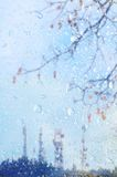 Bare tree branches behind wet glass with antennas television repeaters. Stock Photos