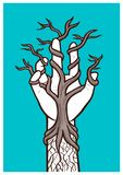 Bare tree growing within a hand – interlacing of nature and humanity royalty free illustration