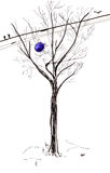 Bare tree trunk and blue balloon in spring Royalty Free Stock Photo