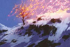 Bare tree in winter with glowing snow. Fantasy landscape showing bare tree in winter with glowing snow,digital painting royalty free illustration