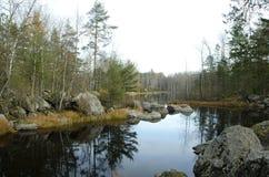 Vuoksa river in the autumn forest stock photos