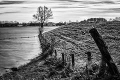 Flooded river bank in The Netherlands Royalty Free Stock Photography