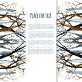 Bare winter branches of the trees. Watercolor background. Bare winter branches of the trees vector illustration