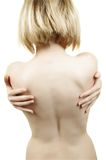Bare woman. Blond bare woman's back on white Stock Photo