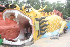 Bared its teeth Dragon in SHENZHEN ZHONGSHAN park Stock Photo